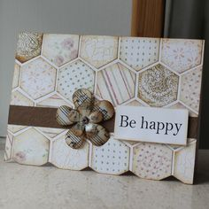 hexagon tiles in pale neutral colors . paper was scraps . some made to match the scraps . like the natural color . flower made of sheet music and has been waxed . Hexagon Cards, Hexagon Tiles, Cards For Friends, Card Tags, Cool Cards, Creative Cards, Scrapbook Cards, Homemade Cards, Stampin Up Cards