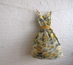 floral tea dress, 50's inspired, yellows  greys, etsy, soho mode