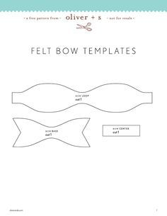 bow template felt bows: a free pattern and tutorial Diy Hair Bows, Diy Bow, Felt Flowers, Fabric Flowers, Erica Catarina, Bow Template, Templates, Fleurs Diy, Bow Pattern