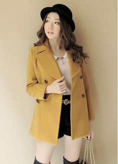 Preppy Style Girls Turndown Collar Yellow Woolen Coat on sale only US$20.03 now, buy cheap Preppy Style Girls Turndown Collar Yellow Woolen Coat at martofchina.com