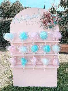 """Cotton Candy """"Mermaid Sugar"""" Wall Shelf from a Turquoise and Pink Mermaid Birthday Party on Kara's Party Ideas 