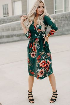 Green Floral 3/4 Sleeve Wrap Midi Dress, Shop for cheap Green Floral 3/4 Sleeve Wrap Midi Dress online? Buy at Modeshe.com on sale! #dresses Midi Dresses Online, Dress Online, Dresses For Sale, Dresses To Wear To A Wedding, Bride Dresses, Green Midi Dress, Fitted Bodice, Shop, Sleeves