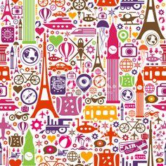 Travel Seamless Pattern Artes e ilustrações vetoriais livres de royalties