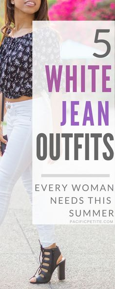 Looking for the perfect white jeans outfit this summer? Here are 5 simple summer white jeans outfits for every occasion. From casual, trendy, and class, there are multiple outfit choices to be inspired by. #whitejeans # woman'sfashion #whitejeansoutfits