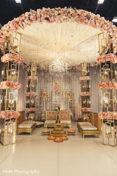 Wedding Stage Decoration Ideas That Will Definitely Wow Your Guest - Our favour. Wedding Stage Decoration Ideas That Will Definitely Wow Your Guest - Our favourite modern Mandap decor ideas. Desi Wedding Decor, Wedding Hall Decorations, Wedding Mandap, Wedding Ceremony Backdrop, Rustic Wedding Centerpieces, Wedding Table, Wedding Ideas, Wedding Bouquets, Gold Decorations