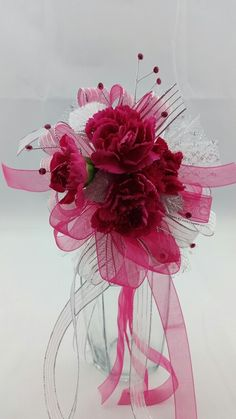 Hot Pink Mini Carnations Corsage with Silver and Hot Pink Accent