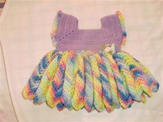 Baby Dress, cute chevron skirt  I would use different colors, and probably go for a baby yarn, and I think this would be much cuter.