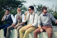 Mis-matched groomsmen, braces and no socks for this beach wedding.  Captured by www.hajley.com