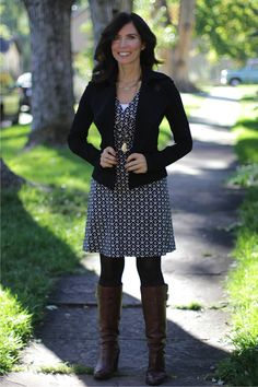 "A #madeinUSA work outfit with ""Carson"" ponte knit faux wrap dress by Dobbin and Black knit ""Raquet"" jacket by Bailey44"