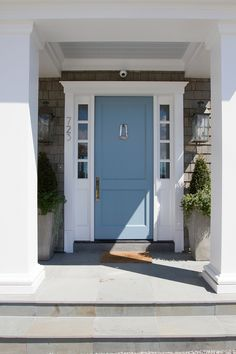 Nothing says more coastal than shingles and a blue front door. Paint color is \u201c & Front Door color: Sherwin Williams Drizzle turquoise Aqua front ... Pezcame.Com