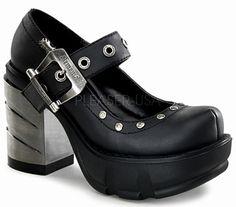 f9e47642d760 Demonia Sinister 59 Black Matt Platform Mary-Jane Shoes with Chrome Square  Heel