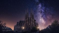Sagrada Familia  Imagine for a second that most of the lights of Barcelona are turned off and the sky is clear that the light pollution has gone and you can enjoy the magic of the night. Well it's just a dream but it might look like this.  More works at  http://ift.tt/2cGY6Qo   Facebook Page  darkrigel@gmail.com  Follow on Instagram: http://ift.tt/2drRvK7 Website: http://ift.tt/1qPHad3 and read how to see the Milky Way. Image credit: http://ift.tt/2dVp4Yq  #MilkyWay #Galaxy #Stars…