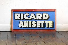 #French #Vintage #Advertising #Tin #Sign #RICARD Anisette