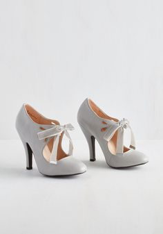 Tea on the Train Heel in Pebble. Choosing between chamomile and chai is your biggest dilemma this morning, since youre feeling confident in these pale grey heels from Dolce by Mojo Moxy! #grey #modcloth