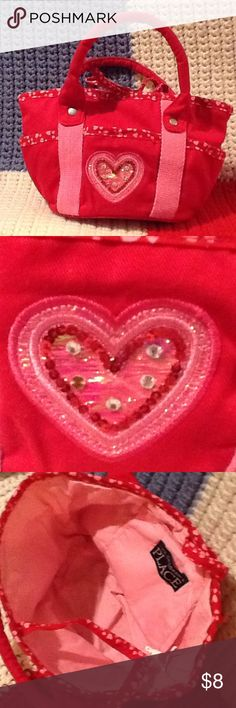 The Children's Place little girl heart purse Perfect for Valentine's Day! Cotton red/pink purse with contrasting pink interior, tie top. Not for children under age 3. Fair used condition. The Children's Place Accessories Bags