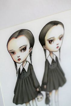 Tuesday and Wednesday Addams -The Addams Twins by mabgraves
