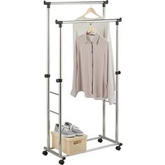 Buy Adjustable Heavy Duty Double Clothes Rail - Black & Chrome at Argos.co.uk - Your Online Shop for Hanging rails.