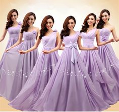 2014 New Women's Bridesmaid Dresses PROM Party Long Chiffon Dress Light Purple Color 6 Styles Can Choose Bridesmaid Dresses Long Champagne, Wedding Bridesmaid Dresses, Wedding Party Dresses, Bridal Dresses, Prom Party, Chiffon Dress Long, Beautiful Dresses, Like4like, Rose