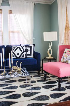 All of these colors and patterns are perfect. Dusty blue, navy blue, salmon pink on black and white