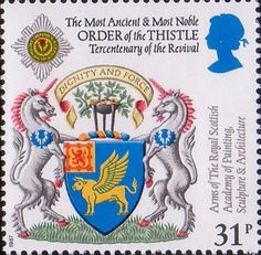 Scottish Heraldry 31p Stamp (1987) Arms of Royal Scottish Academy of Painting, Sculpture and Architecture