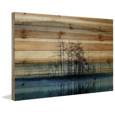 'Tree Isle Reflects' by Parvez Taj Painting Print on Natural Pine Wood 30'' H x 45'' W x 1.5'' D  $179 dining room?