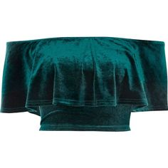 River Island Green velvet deep frill bardot crop top ($12) ❤ liked on Polyvore featuring tops, shirts, crop tops, blusas, crop, green, blue short sleeve shirt, ruffle top, blue top and blue shirt