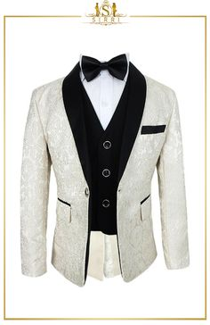 This is a beautifully well made vintage style boys embroidered suit set that is impressive as it is elegant. Made with a fine brocade fabric this ensemble is one of those suits that he'll pull out for those extra special events. Shop now at SIRRI kids #boys suits for weddings #baby boy suit #toddler suits