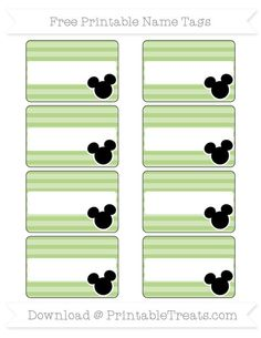 Free Pastel Light Green Horizontal Striped  Mickey Mouse Name Tags