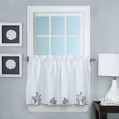 Coffee Embroidered Kitchen Curtain Tiers & Swag Set Brown-beige ...