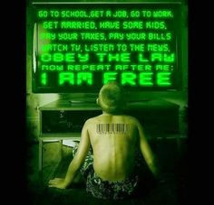 Go to School, Get a Job, Go to Work, Get Married, Have some Kids, Pay your taxes, Pay your Bills, Watch TV, Listen to the News, OBEY THE LAW... Now repeat after me: I AM FREE.
