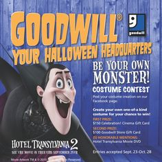 Halloween Costume Contest 2015! Enter to win: 1st prize: $150 @Celebration! Cinema Gift Card 2nd Prize: $100 Goodwill Store Gift Card (5) Honorable Mentions: The original Hotel Transylvania DVD Contest runs until 9:00 pm on October 28, 2015. The winners will be announced on Halloween! Costumes will be judged on uniqueness and creativity.