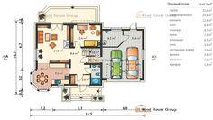 Проект дома из газобетонных блоков с мансардой «Туркус» (E-1080) - Первый этаж