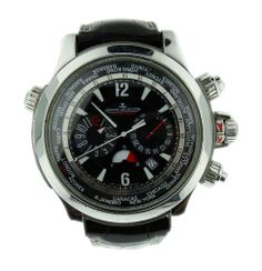 Jaeger LeCoultre Master Compressor Extreme World in stainless steel on a leather strap with double fold over buckle, automatic Swiss made chronograph movement and World Time.   http://www.liveauctioneers.com/item/25627260_stainless-steel-jaeger-lecoultre-master-compressor