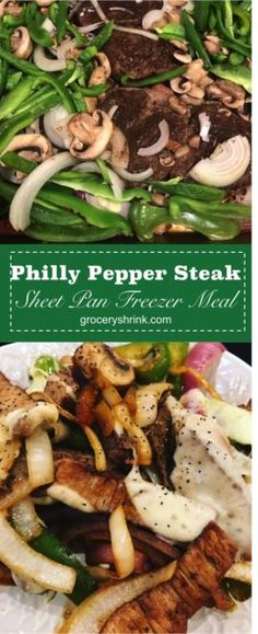 Philly Pepper Steak Sheet Pan Freezer Meal – Grocery Shrink Healthy Freezer Meals, Make Ahead Meals, Freezer Cooking, Easy Meals, Monthly Meal Planning, Food Cost, Pepper Steak, Steak Recipes, Keto Recipes