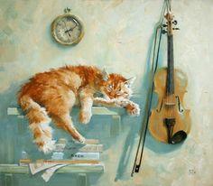 Katze und Geige
