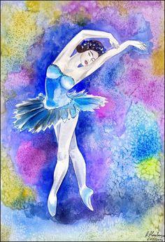 Original Aquarell Bild Frau Akt Erotik Ballett Tänzerin Balletttänzerin Watercolour Woman Erotik Dancer