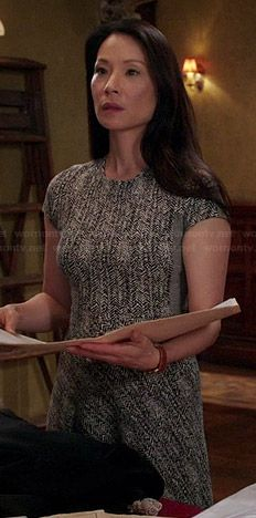 Joan's grey herringbone dress on Elementary.  Outfit Details: http://wornontv.net/43324/ #Elementary