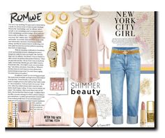 """ROMWE New York City Girl"" by emperormpf ❤ liked on Polyvore featuring Brunello Cucinelli, Christian Louboutin, Gucci, Marco Bicego, Anissa Kermiche, Cartier, Burberry, Bobbi Brown Cosmetics, Too Faced Cosmetics and Dolce&Gabbana"