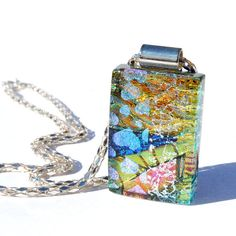 Dichroic Glass Pendant Necklace  Fused Glass by IntoTheLight