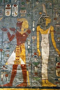 Mural painting, pharao, pharaohs, queen, tomb of Ramses I, tomb number KV 16, grave, Valley of Kings, West-Thebes, Luxor, Egypt