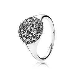 The textured surface with a multitude of bright stones provides the ring band with a prominent yet subtle look. #PANDORA #PANDORAring