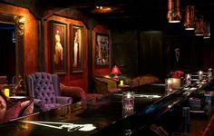 Speakeasy Bar by salvadorphoto. Love the big purple wingback chair! Lounge Design, Bar Lounge, Lounge Ideas, Bar Interior, Interior Styling, Restaurant Design, Restaurant Bar, Prohibition Bar, Speakeasy Decor