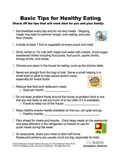 Basic Tips for Healthy Eating from UC Davis Children's Hospital.
