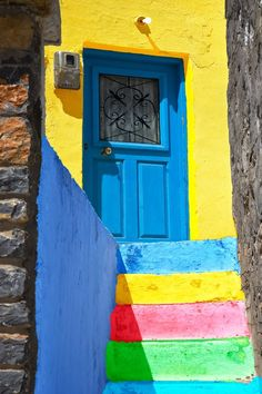 Colours of Chios Island, Greece Ahhh! To photograph Greece one day, definitely on my bucket list! Entrance Doors, Doorway, Greece Art, Cool Doors, Door Knockers, Stairways, Windows And Doors, Arches, Art And Architecture