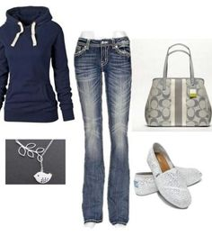 I love everything except the purse it looks like an outfit you'd wear to school would you really wear a cheap hoodie,blue jeans, and Toms with a $300.00 purse?