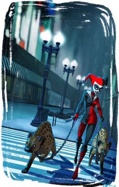 Just HQ walking her wild pets through the streets of Gotham.