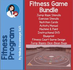 Fitness Fun Zone Fitness Bundle : Jump Rope Activity Stencils, Fun Zone Stencils, Jump Ropes, Beanbags, Dice, Nutritional Cards, Activity Manual, Blueprints, Music CD, Instructional DVD, Paint Machine, Storage Backpack & Skillastics Activities Kit. Pe Ideas, Fitness Fun, Exercise For Kids, Ropes, Physical Education, Game Design, Dice, Fun Workouts, Fun Activities