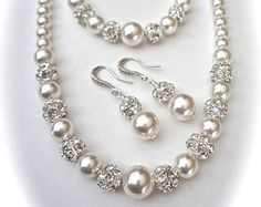 Gold pearl Set Swarovski pearls and Crystals by QueenMeJewelryLLC Pearl Set, Gold Pearl, Layered Jewelry, Necklace Sizes, Bridal Jewelry Sets, Swarovski Pearls, Pearl Jewelry, Pearl Necklace, Earring Set