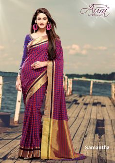Sarees - Purple,Blue And Golden Exquisite Aura Silk Collections - Wedding / Party / Special Occasions Designer Sarees Online Shopping, Latest Designer Sarees, Only Clothing, Handloom Saree, Party Wear Sarees, Indian Ethnic Wear, Indian Sarees, Dress Up, Sari