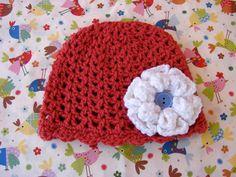 Cherry Red Crochet Baby Hat